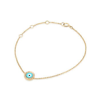 Evil Eye Bracelet |14K Solid Gold Turquoise,Yellow Gold,Evil Eye Jewelry,Luck,Gift,Yellow Gold Bracelet,14K Gold,Luck Jewelry,Eye Bracelet
