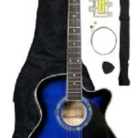 Barcelona Thinline Cutaway Folk Acoustic-Electric Guitar with Accessories - Blue
