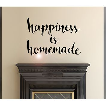 Vinyl Wall Decal Words Quote Happy Family Happiness Is Homemade Stickers Mural 22.5 in x 15.5 in gz155