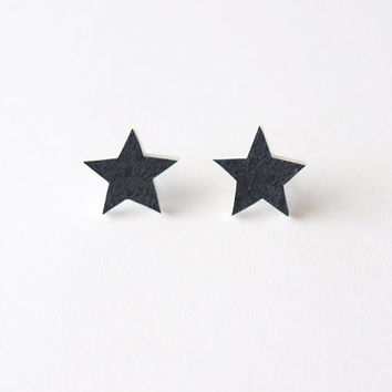 Black Star Stud Earrings - Made To Order