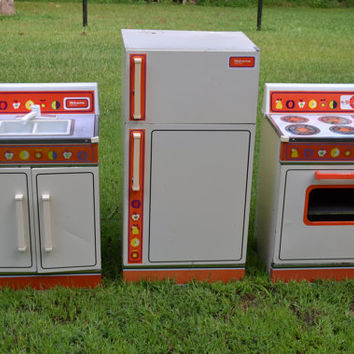 Vintage Three Piece Wolverine Rite Hite Toy Kitchen Set Refrigerator, Stove, Sink Retro