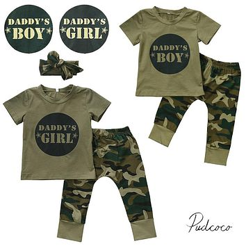 Camo DADDY'S BOY/GIRL 2017 Cool Newborn Baby Boys Girls T-shirt Tops Pants Outfits Set