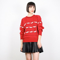 Vintage 80s Sweater Cosby Sweater Red Black White Jumper Pullover 1980s 80s Sweater Duck Goos Bird Print Striped Novelty Sweater M Medium L
