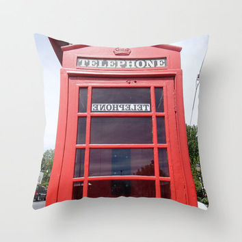 Telephone Booth Throw Pillow by Shawn Terry King