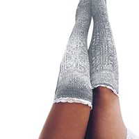 2017 New Design Women Cotton Thigh High Long Stockings Knit Over Knee Socks christmas socks meias femininas chaussette femme