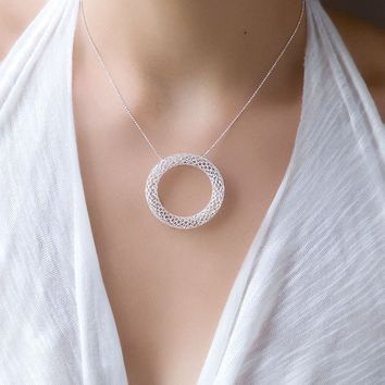 Sterling Silver Necklace with Big Circle Circle by toolisjewelry