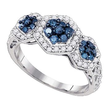 10k White Gold Women's Blue Diamond Flower Cluster Ring - FREE Shipping (US/CA)