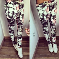 2017 Trending Fashion Retro Vintage Women Floral Printed Floral Printed Casual Trousers Pants _ 12585