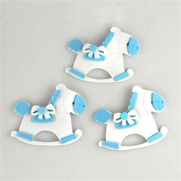 Baby Shower Foam Decoration, 2-1/2-inch, 3-Piece, Rocking Horse, Light Blue