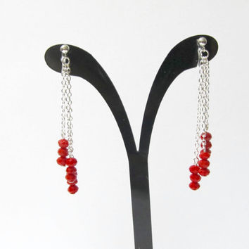 Red Cut Glass Wedding 'Clip on Earring' D11S Fringe earring Tassel Earring Long Drop Earring Invisible clip on holiday dangle earring