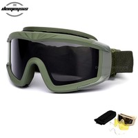 Tactical Glasses Military Goggles TR90 Bullet-proof Army Sunglasses With 3 Lens Men Shooting Eyewear Gafas