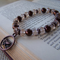 Dark Brown and Champagne Beaded Stretch Bracelet with Antiqued Copper Bird Charm - Handmade Jewelry