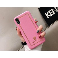 Versace Tide brand leather hard shell embossed iPhone 7/8plus mobile phone case cover pink