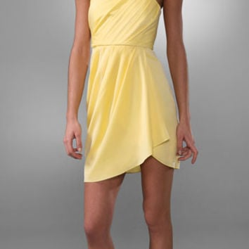 Alice + Olivia 100% Silk Twisted Halter Yellow Dress (Alice + Olivia)