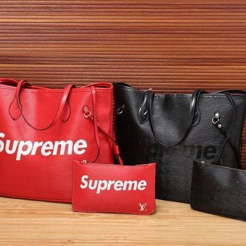 DCCK LV x Supreme Women Shopping Bag Tote Handbag Wallet Purse Two Piece Suit