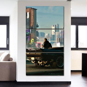 Artwork 3 Panel Canvas Print Poster Modern Home Decor Wall Art Game Cyberpunk 2077 City Landscape Picture Man And Car Poster