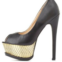 Gold-Embossed Peep Toe Platform Pumps by Charlotte Russe