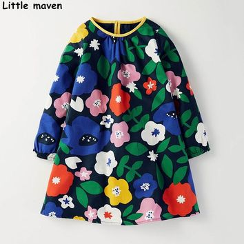 Little maven kids brand clothing 2017 autumn new baby girls clothes Cotton flower print girl long sleeve dresses S0256