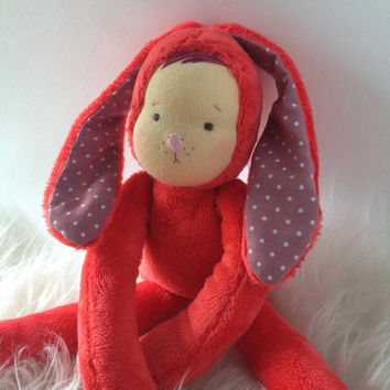 Bunny doll pink-red soft minky cloth doll, bunny doll, stuffed bunny, animal doll, woodland animal, ready to ship