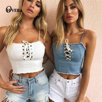 OHVERA 2017 Summer Lace Up Crop Top Women Camis Vest Slim Sexy Hot Camisole Strappy Cropped Tank Tops Women's Bralette