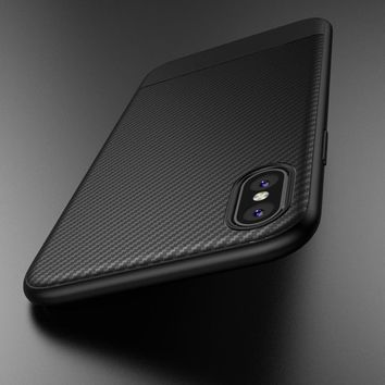 Case for iphone X 10 Carbon Fiber Luxury thin Slim Soft Silicon TPU Coque Accessories Black Back Cover for Apple iphone X Case