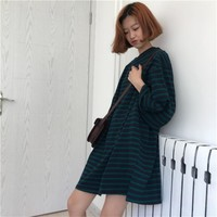 Women's Dresses Vintage Kawaii Ulzzang Autumn Loose Dark Green Striped Dress Female Cute Korean Harajuku Clothing For Women