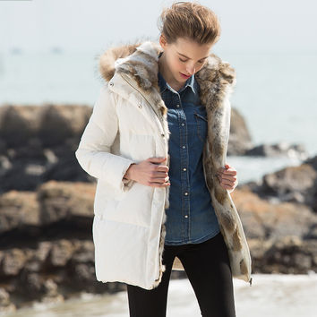 Women Plus Size Winter Parkas 2016 New Real Fur Collar Thick Warm Hooded White Duck Down Coats Jacket Overcoat 1320