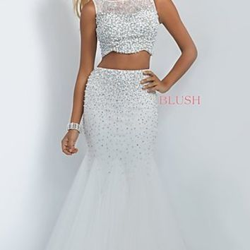 Off White Two Piece Prom Dress by Blush