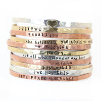 Gift for Her - Blessing Bangles - Stacking Bangles - Personalized Name Jewelry - Inspirational Power Positive - Names Mantras - Rustic Boho