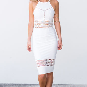 LATTICE WORK MIDI DRESS - Dissh