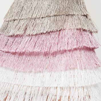 Missguided - Pink Multi Tiered Fringe Stripe Mini Skirt