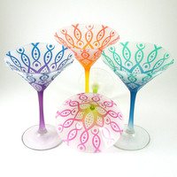 Martini Glasses - Vesuvian Flower - Set of 4 - Frosted and Custom Painted Glassware