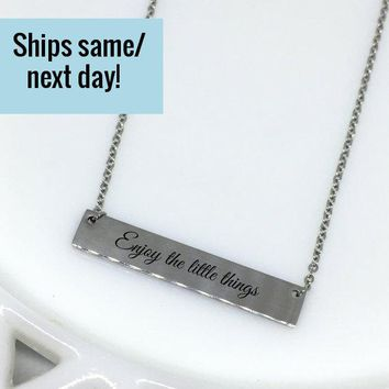 Enjoy the Little Things, Enjoy Charm, Motivational Jewelry, Inspirational Necklace, Custom Engraved Necklace, Engraved Jewelry,Gift for Her