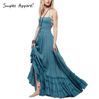 Simplee Apparel Sexy backless halter mixi dress Casual ruffles cotton linen dress Boho vintage summer long dress women vestidos