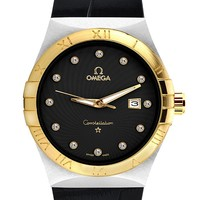 OMEGA men's tide brand fashion quartz watch F-SBHY-WSL Gold Case + Black Dial