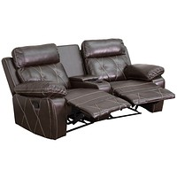 Reel Comfort Series 2-Seat Reclining Leather Theater Seating Unit with Curved Cup Holders
