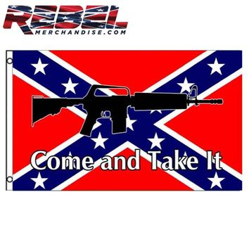 3' x 5' Come And Take It Rebel Flag With Gun
