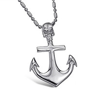 Stainless Steel Skullhead Anchor Necklace