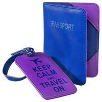 Passport Case and Luggage Tag - Blue