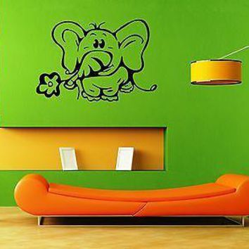 Wall Stickers Vinyl Decal for Kids Nursery Elephant Cute Animal Baby Unique Gift ig1352