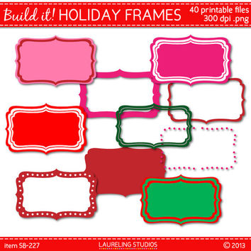 digital christmas clipart scrapbook frame Holiday labels clipart scrapbook supplies commercial use DIGITAL DOWNLOAD SB227