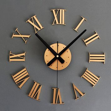 Roman Numerals Large Size Home Decoration Art Wall Clock