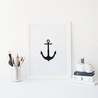 ANCHOR ,PRINTABLE Art,Ship Decor,Sea,Ocean,Digital Wall Art,Arrow Print,Black And White,Travel Poster,Symbol,Digital Wall Art,Home Decor