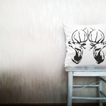 Deer pillow decorative throw pillow cover white cotton toss pillow case cover hand painted cushion rustic bedding bedroom set 18x18 inches