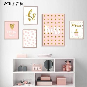 Romantic Valentine Wall Art Canvas Poster Pink Minimalist Love Prints Decorative Picture Painting Girls Living Room Decoration
