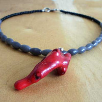 Red coral grey necklace - Bohemian necklace