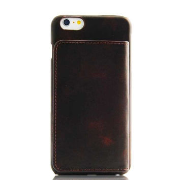 iPhone 6 6S Plus Brown Classic Genuine Leather wallet case