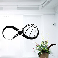 Wall Decals Infinity Symbol Love Basketball Sport Sign Hearts Gym Home Vinyl Decal Sticker Kids Nursery Baby Room Decor kk620