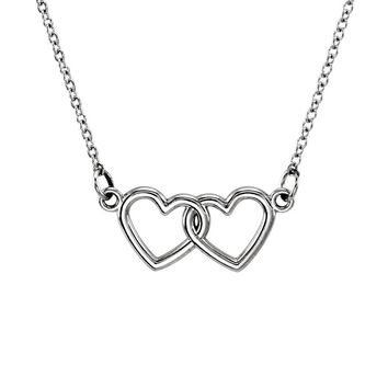 Tiny Double Heart Necklace in 14k White Gold, 18 Inch
