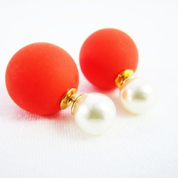 Coral & White Double Pearl Earrings